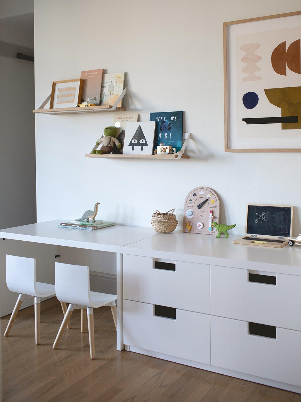 Built-in kids desk