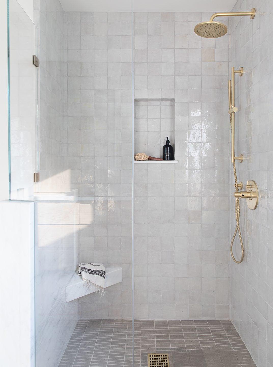 Shower with zellige tile