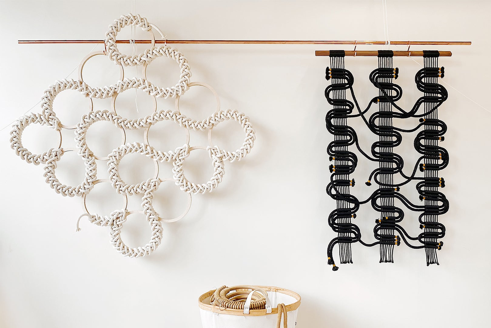 Knot art hanging on white wall