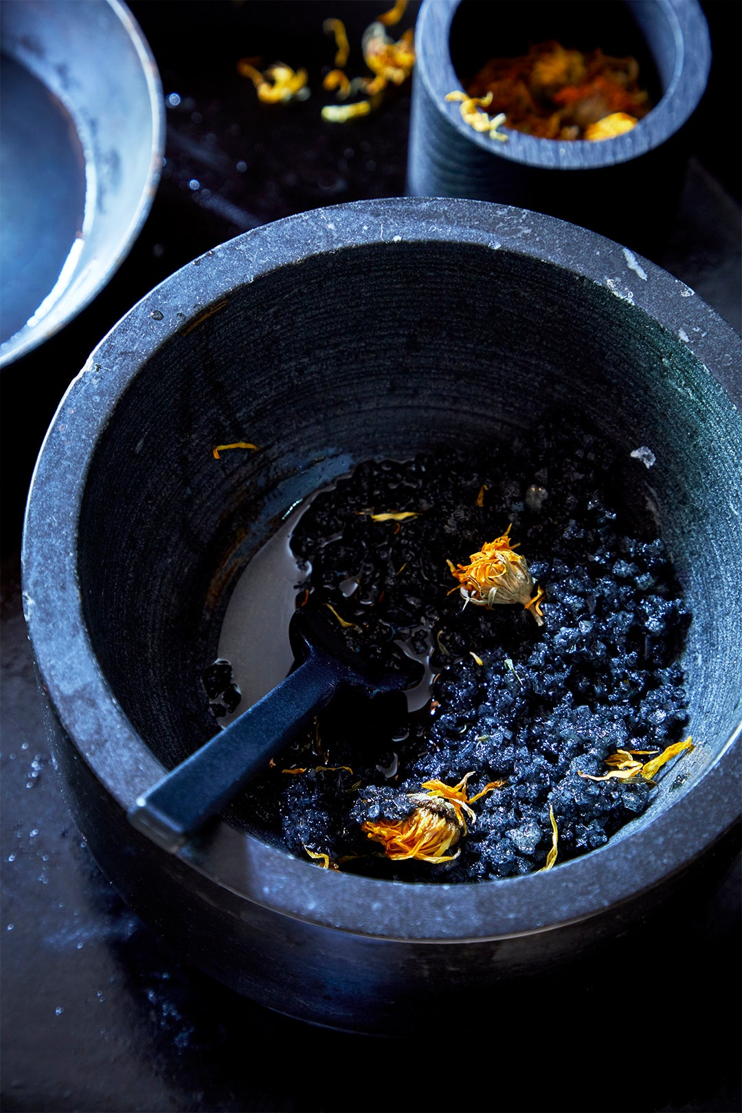black charcoal scrub