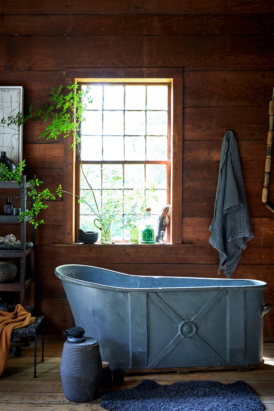 metal tub in a cabin