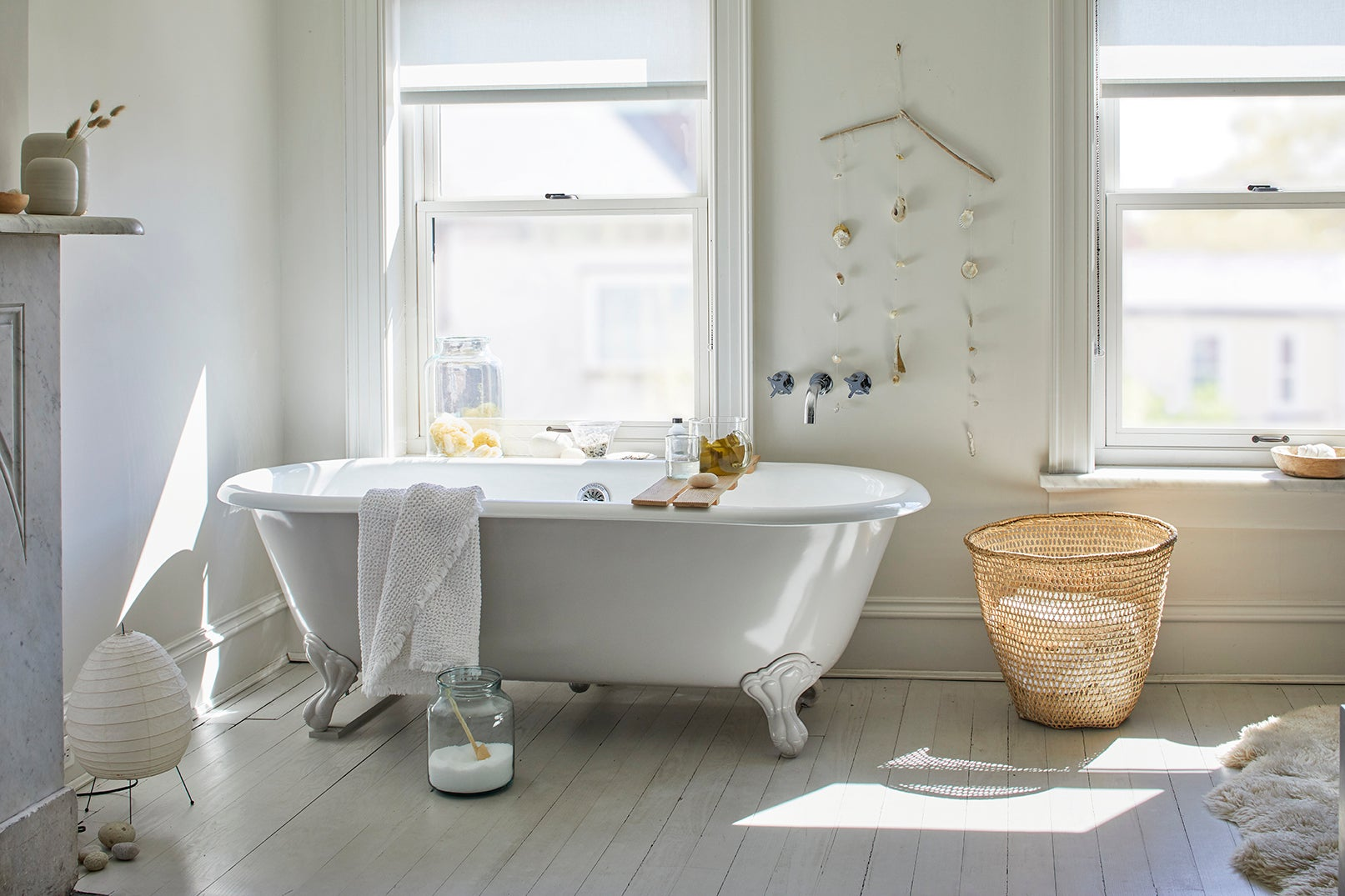 tub in a white bathroom