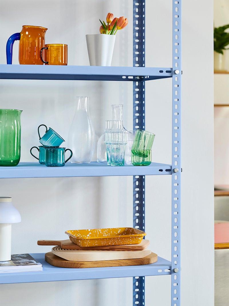 blue utility shelf unit