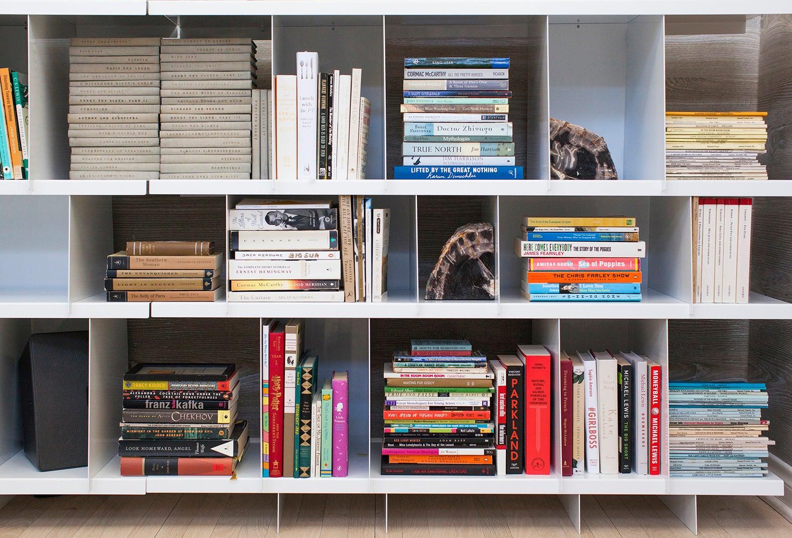 books on metal shelf