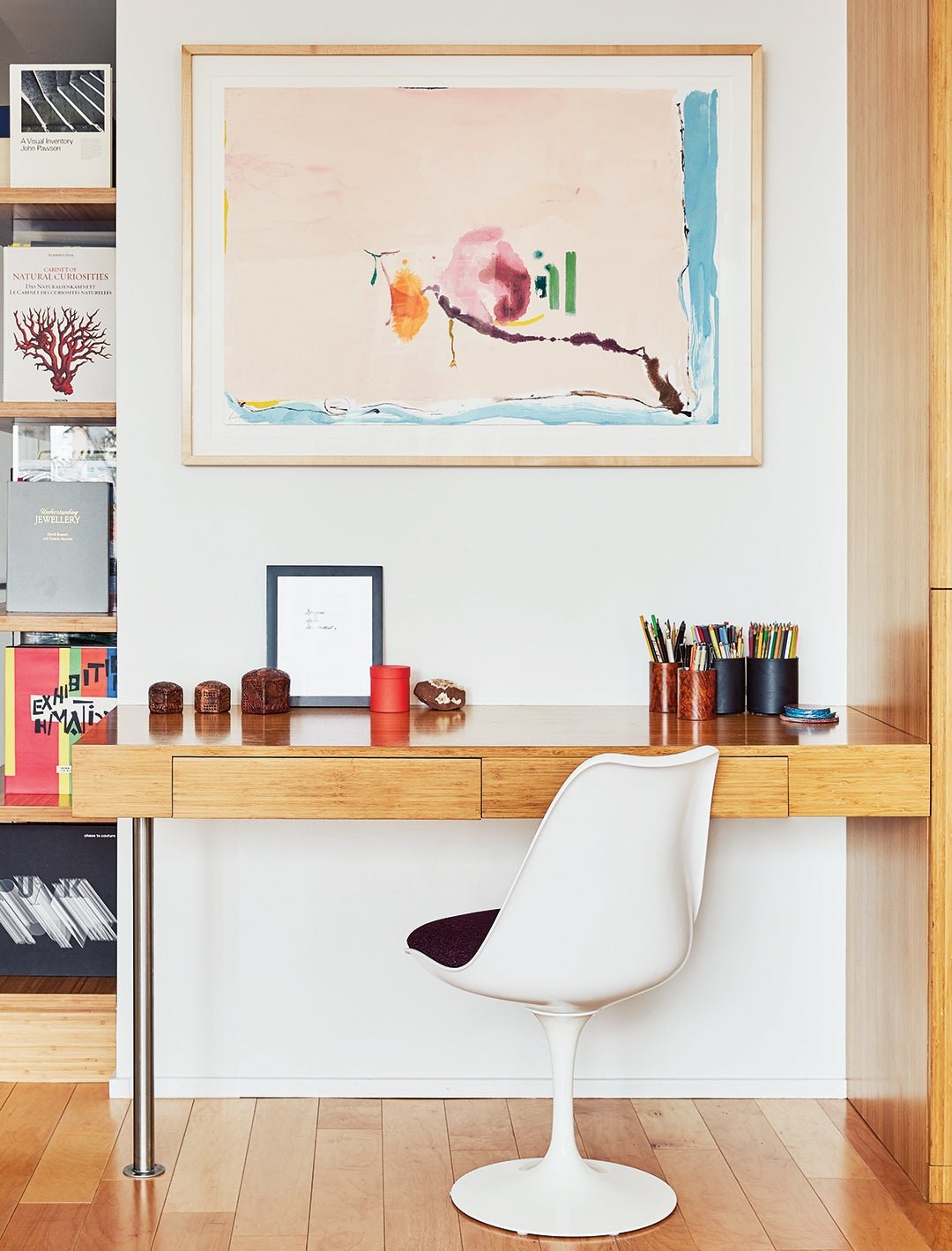 white chair and wood desk