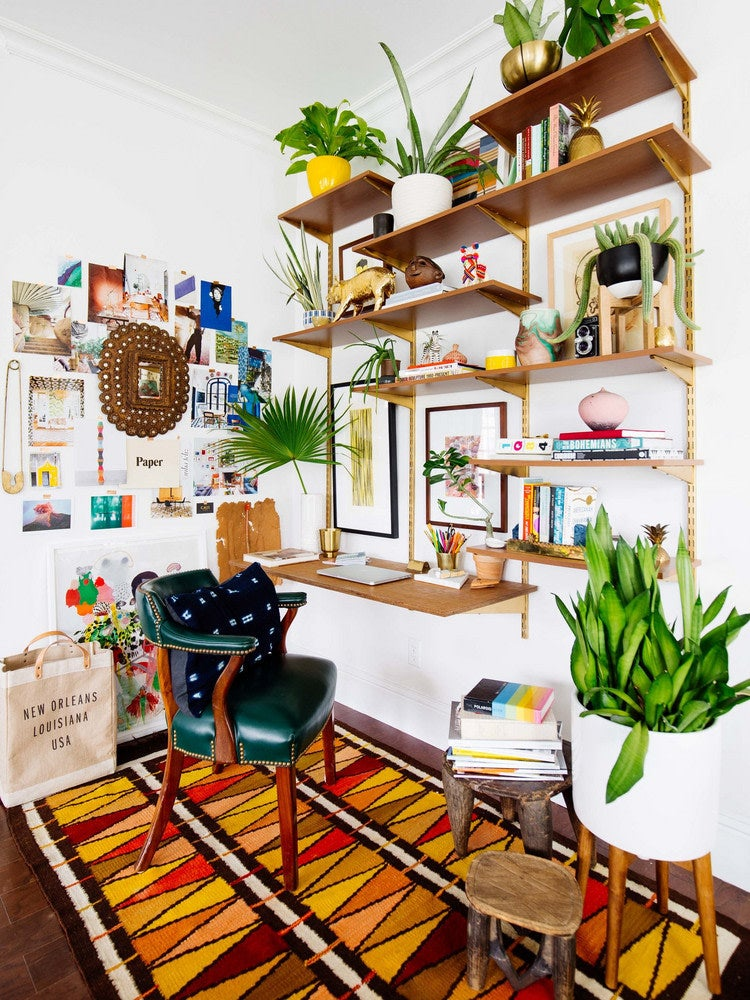 wall mounted desk with shelves