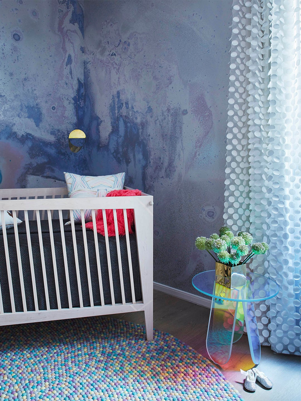 Calico wallpaper in nursery