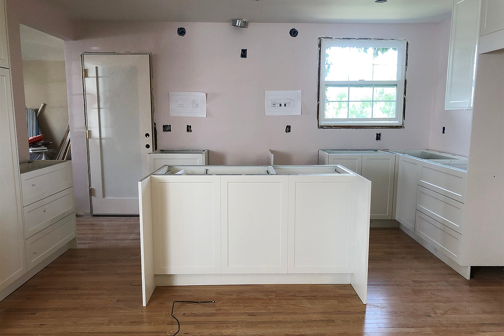 cabinets being installed