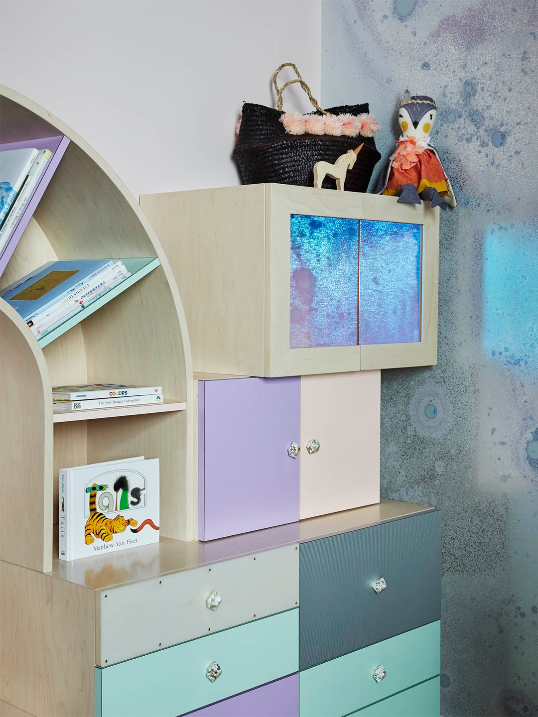 Multicolor modular nursery storage