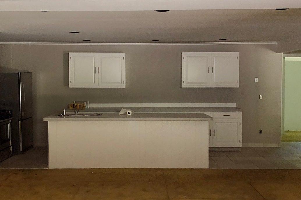 old grey kitchen white cabinets