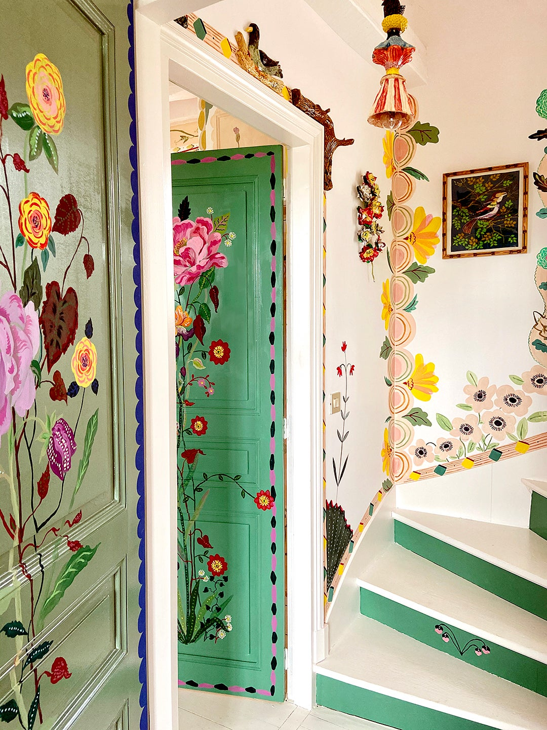 Floral-painted staircase