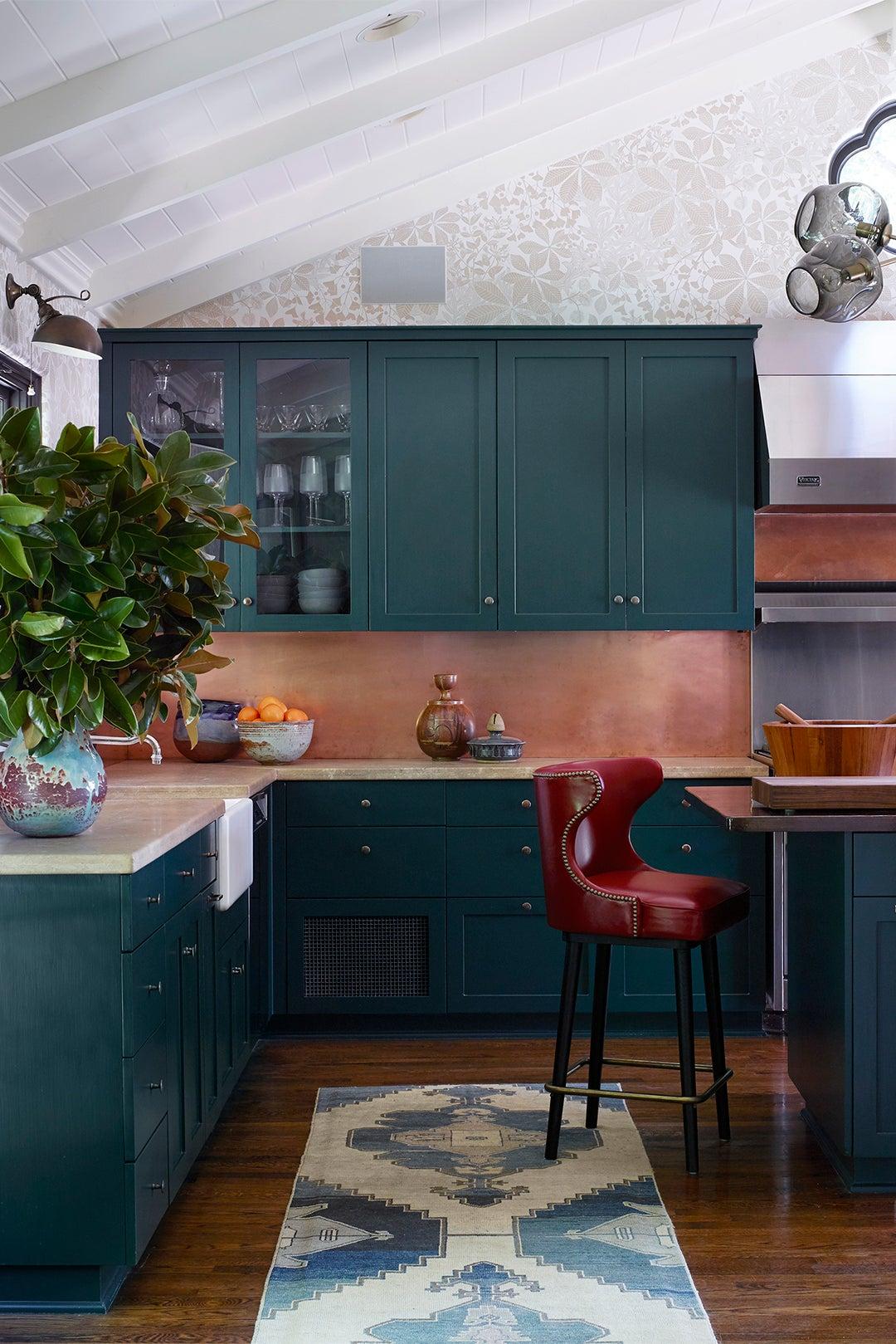 teal kitchen cabinets copper backsplash