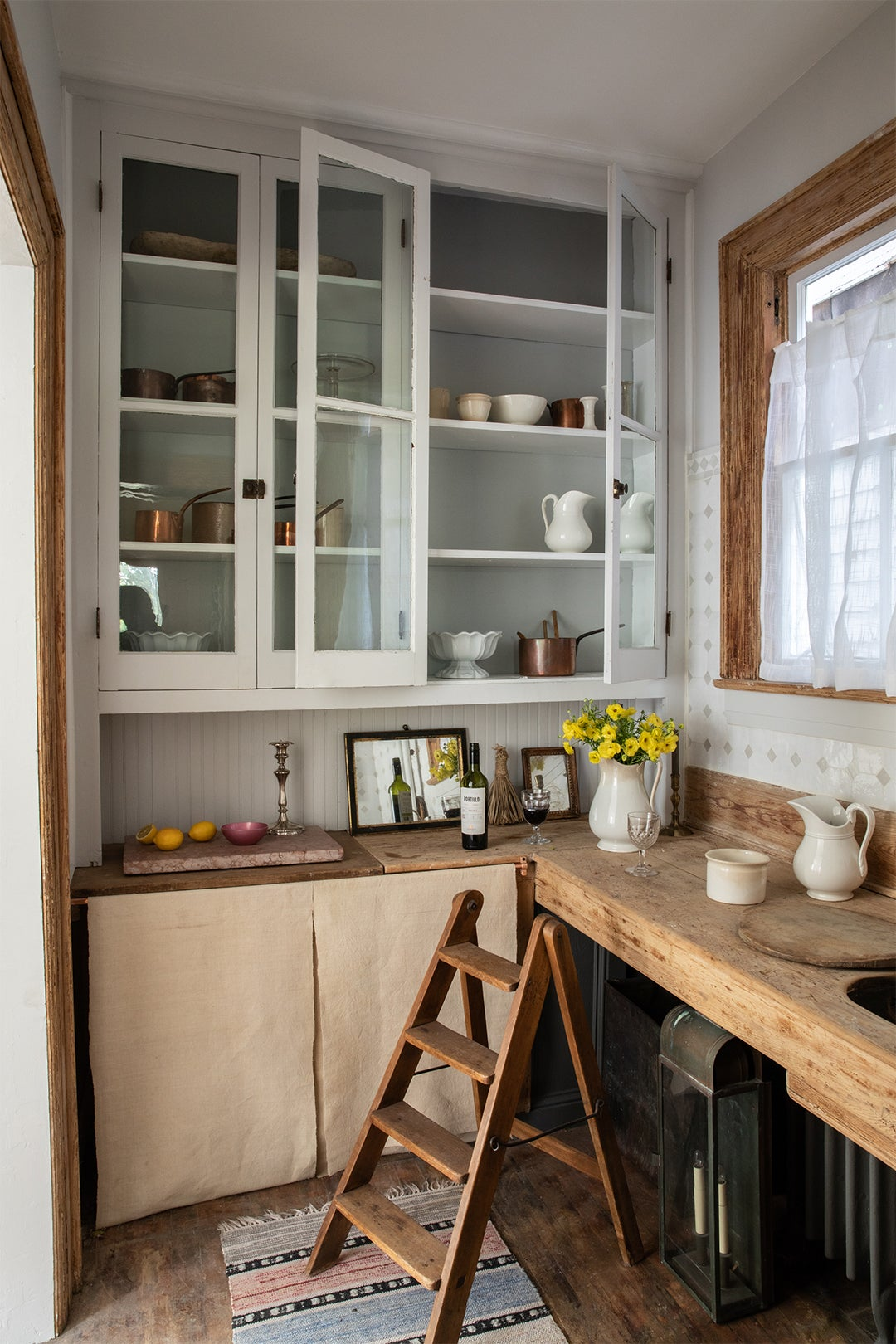 rustic kitchen white cabinets wood counters