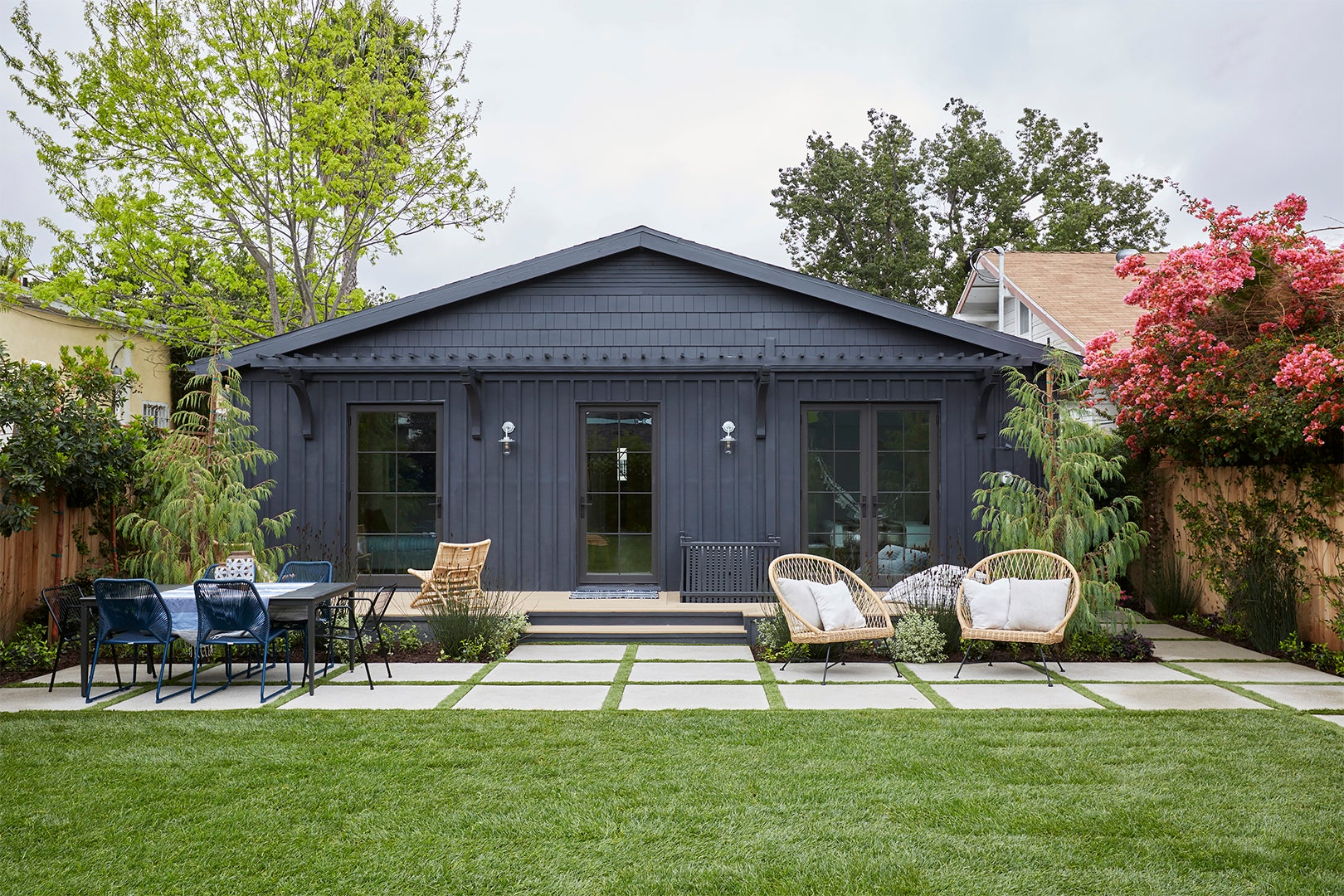 Craftsman house with black exterior