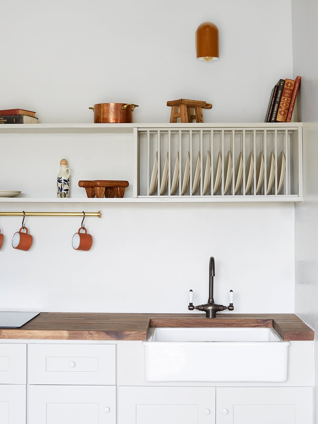 Kitchenette with open shelving