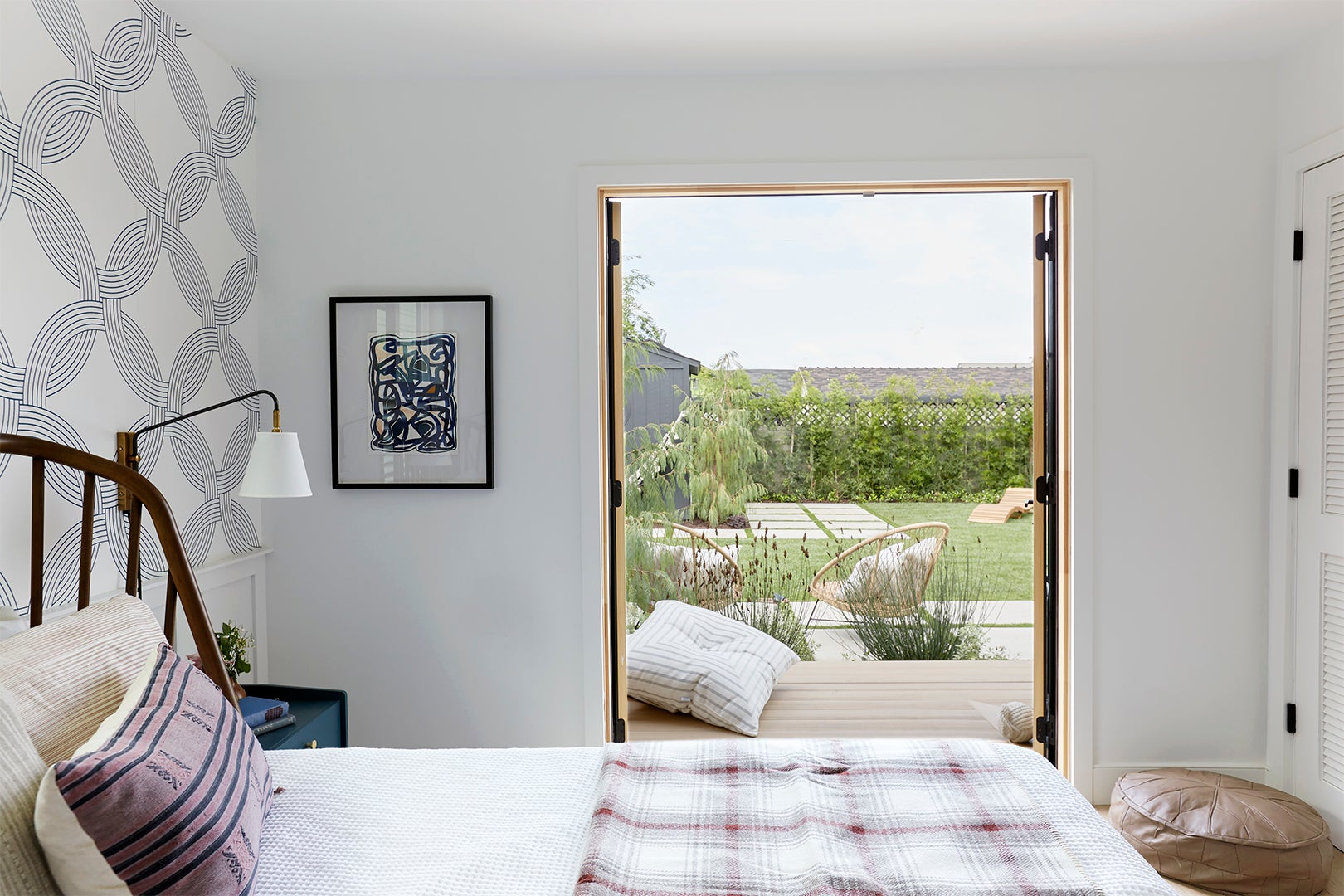 Bedroom with double doors to outside