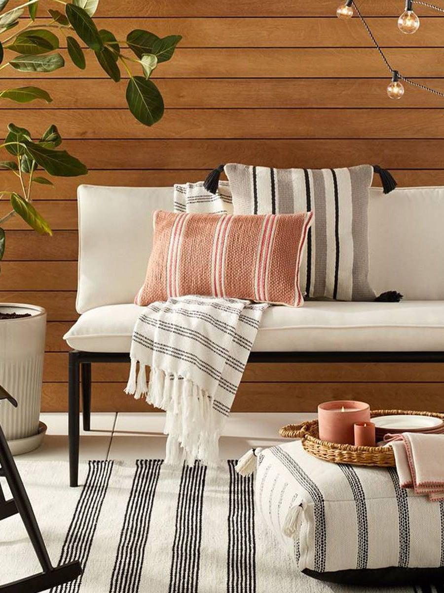 outdoor sofa with throw pillows