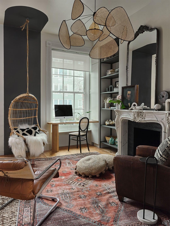 living room with rattan light fixture