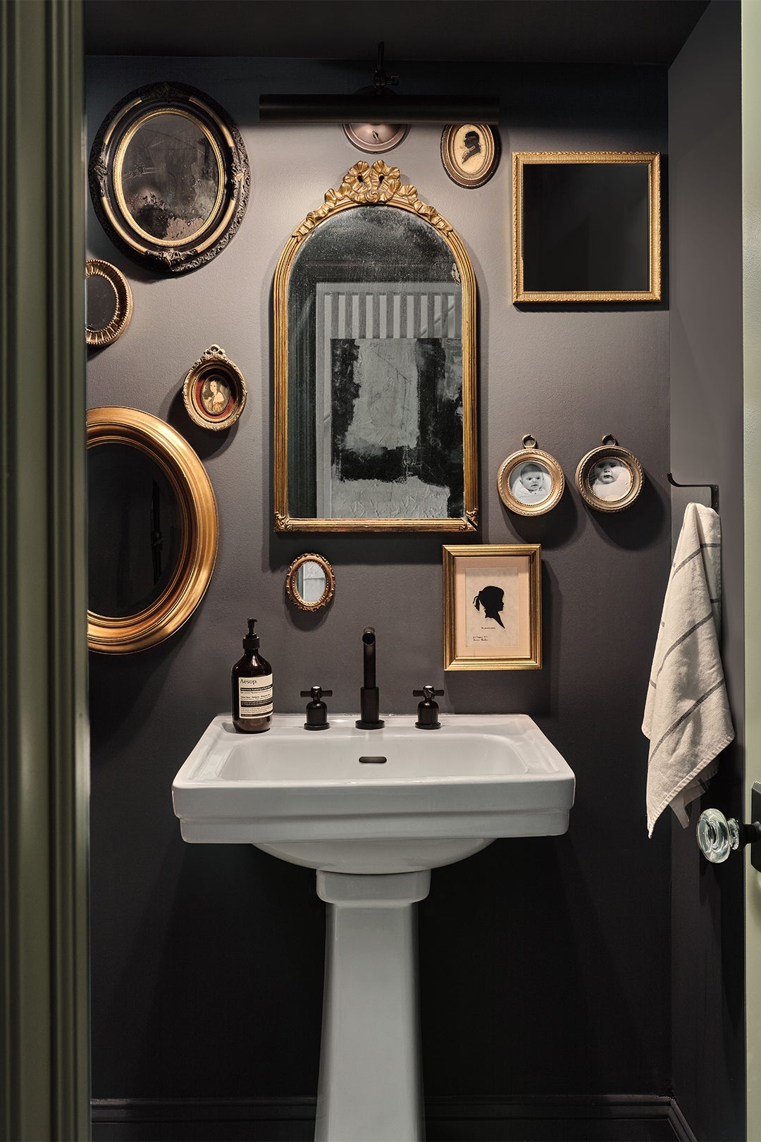 powder room with mirror collection