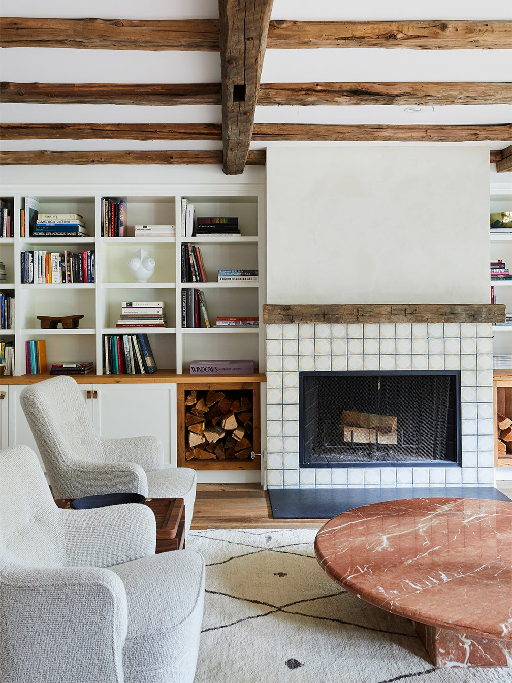 cozy living room with wood beams