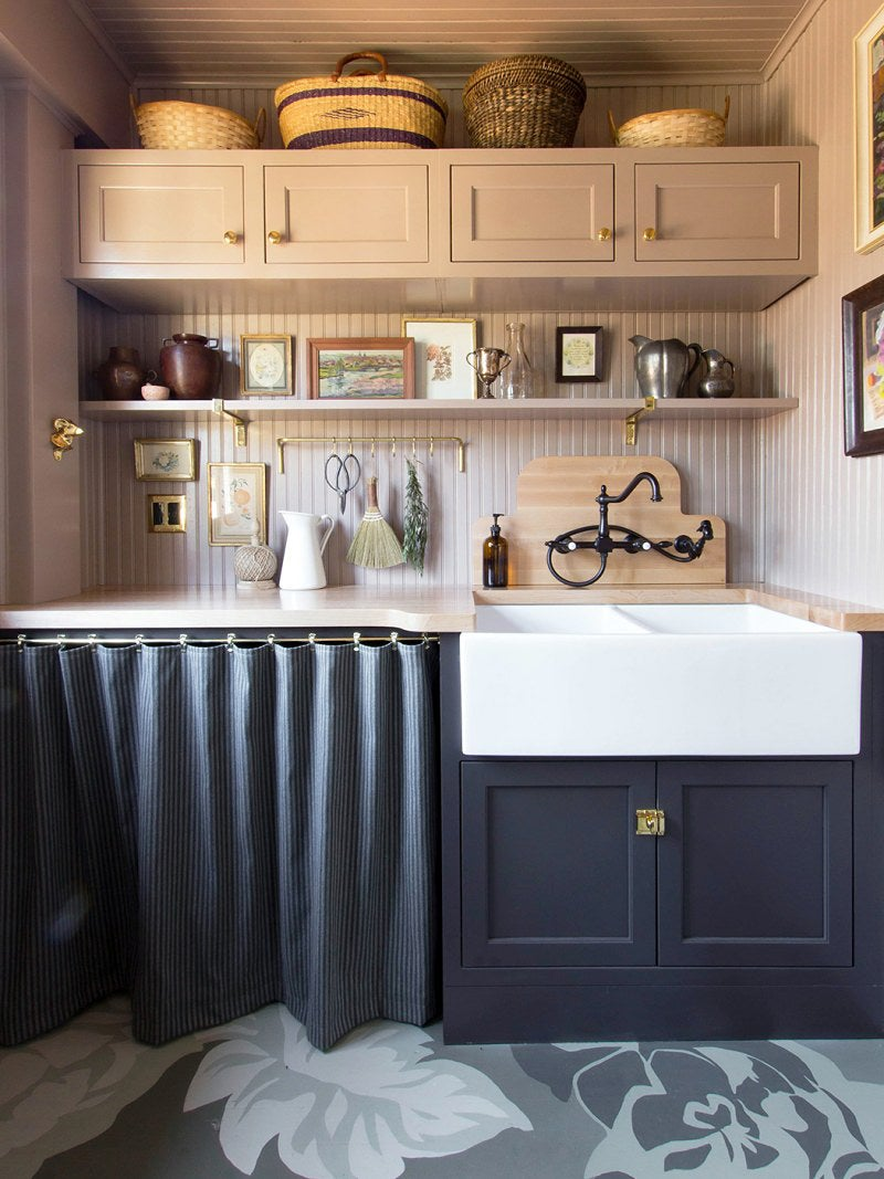 pink scullery with sink curtain