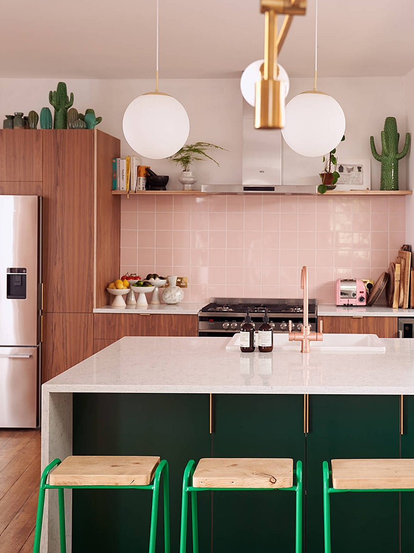 pink kitchen marble island cactus collection