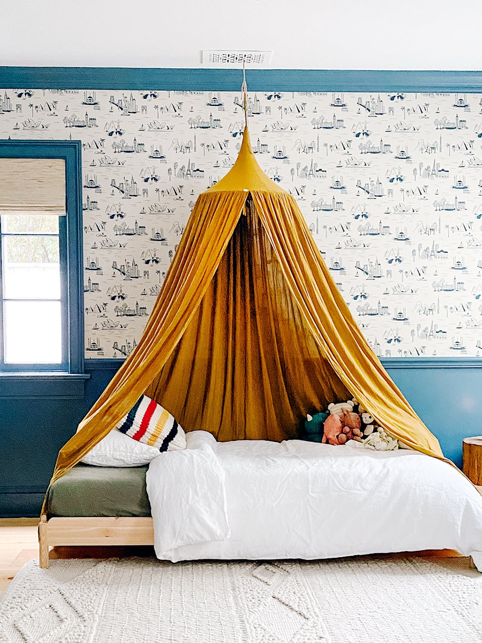 Kids room with yellow canopy