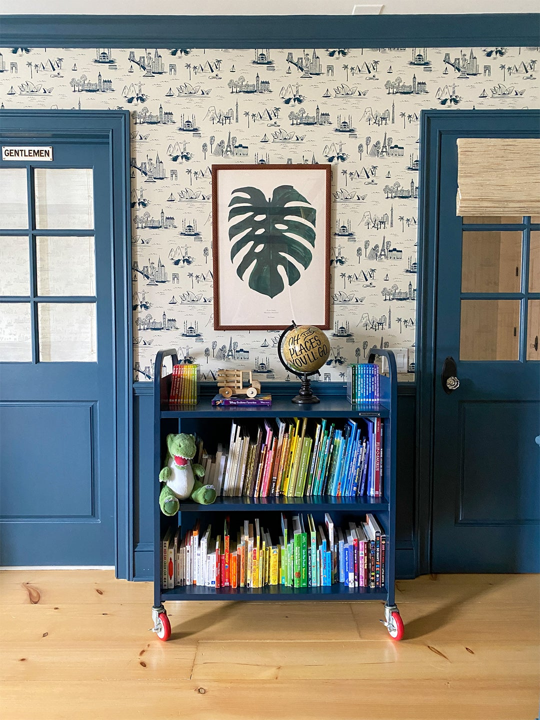 Kids room with modern toile wallpaper