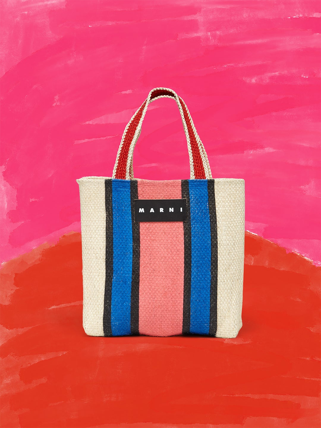 blue and pink shopping tote Marni