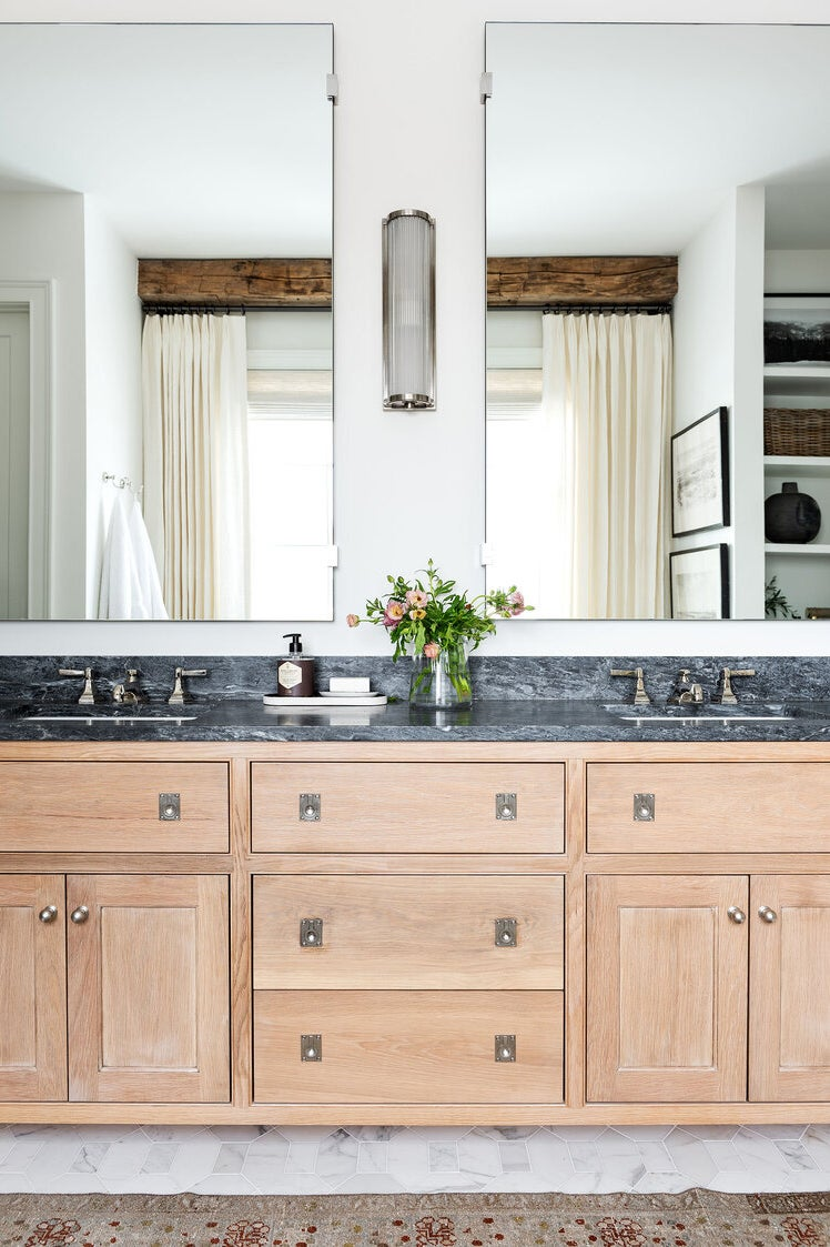 bathroom vanity with twin mirrors