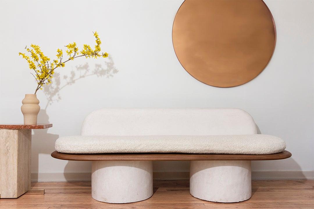 white curvy sofa