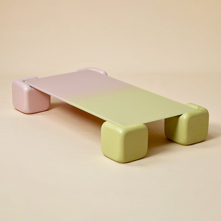 pink and green ombre coffee table