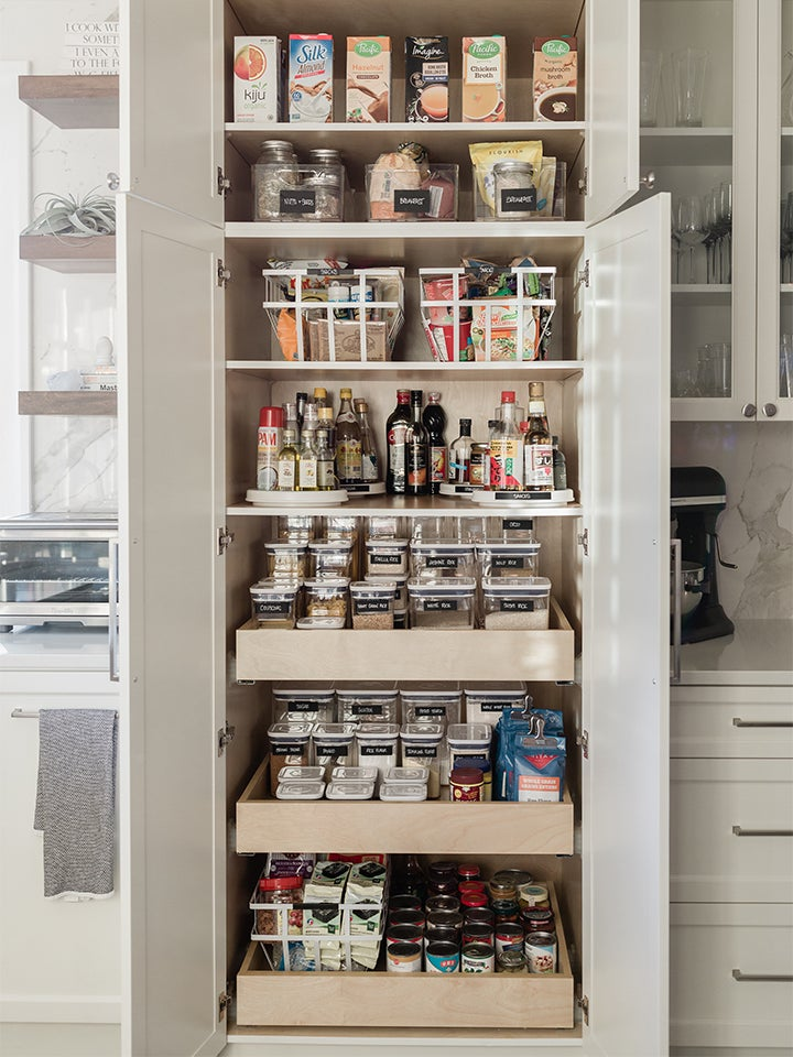Pantry shelves in kitchen
