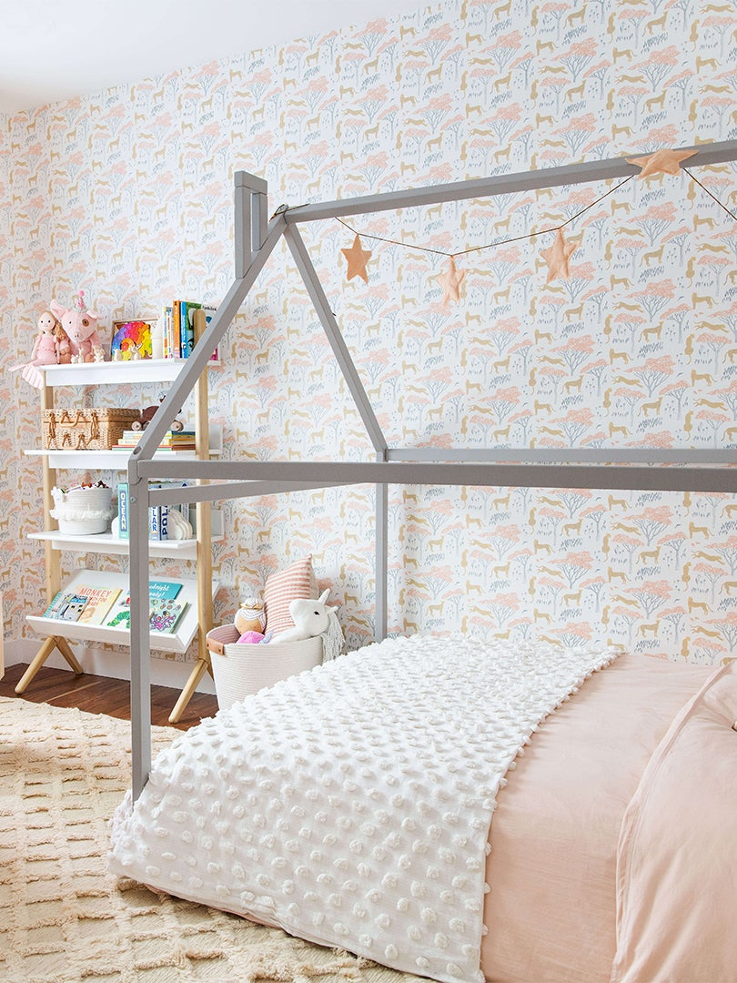 Kids room with house-shaped bed