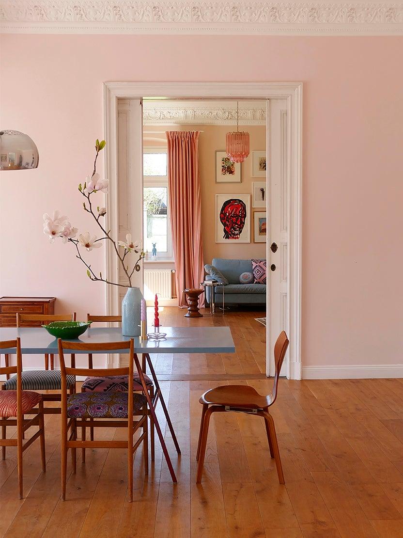 pink hallway near dining room