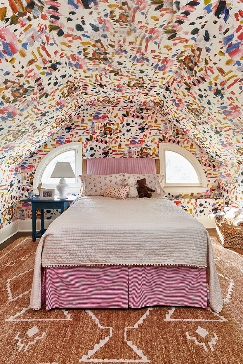 Kids room with painterly Pierre Frey wallpaper