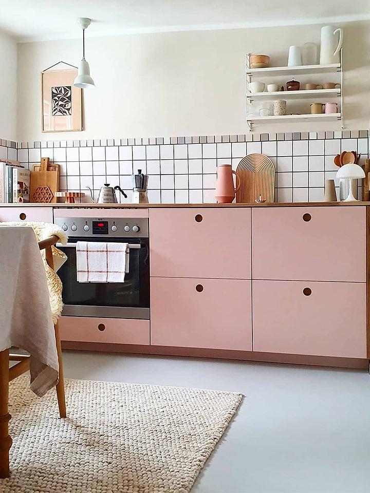 pink kitchen grid backsplash