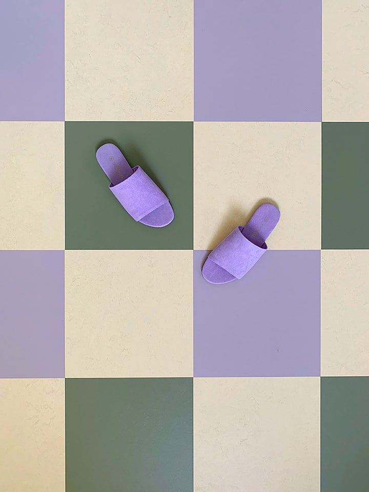lilac and green checkerboard floors