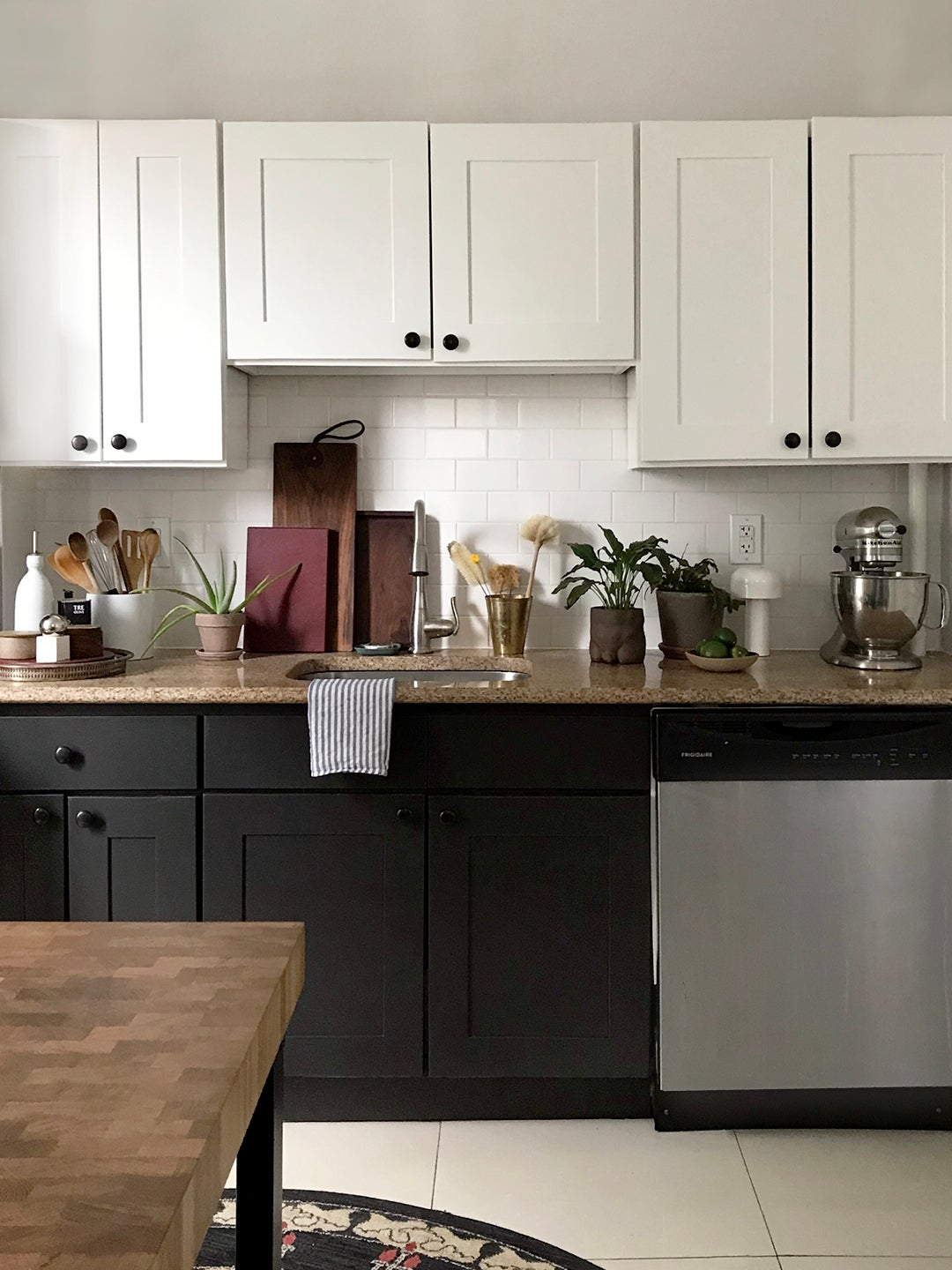 Cabinets painted black and white