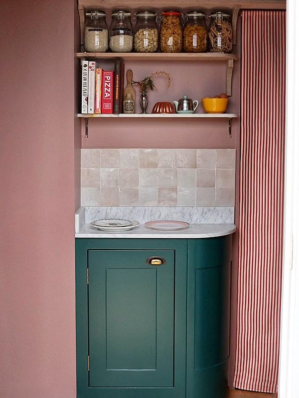 pink and green pantry