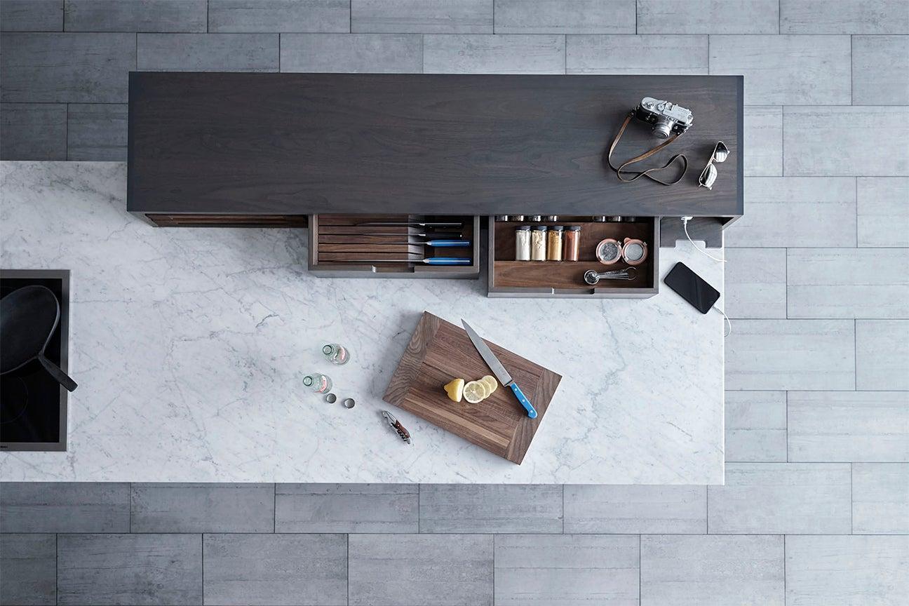 cutting board on counter