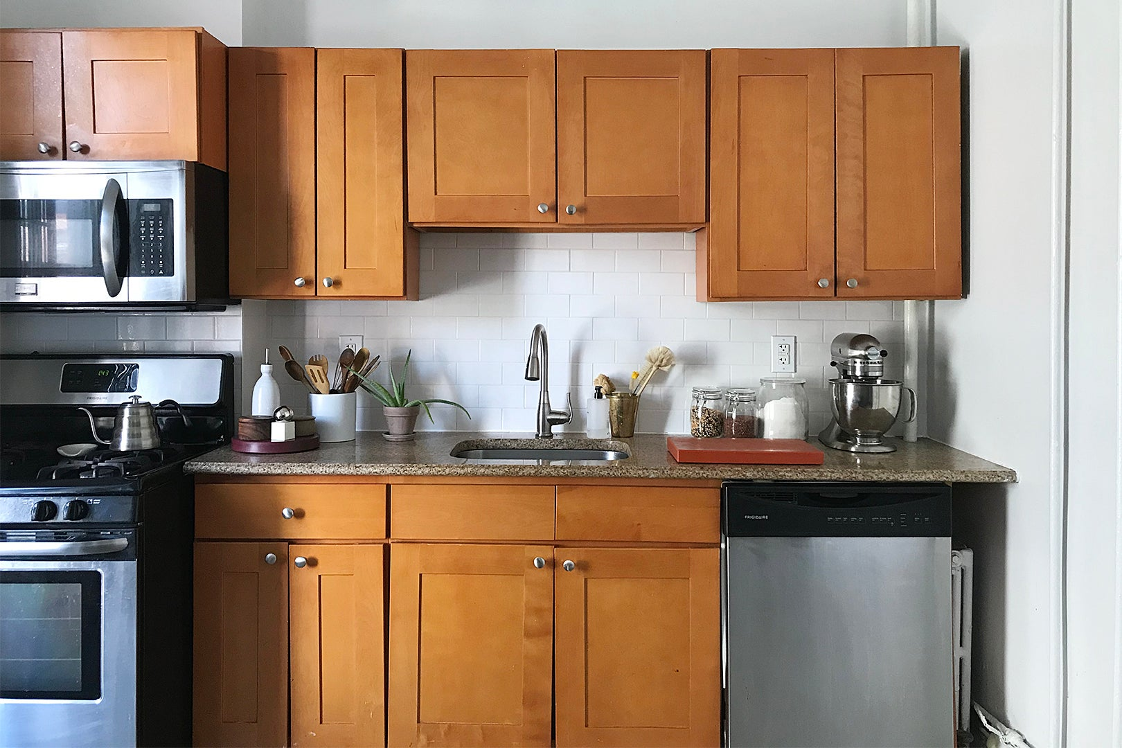 Before - wooden cabinets