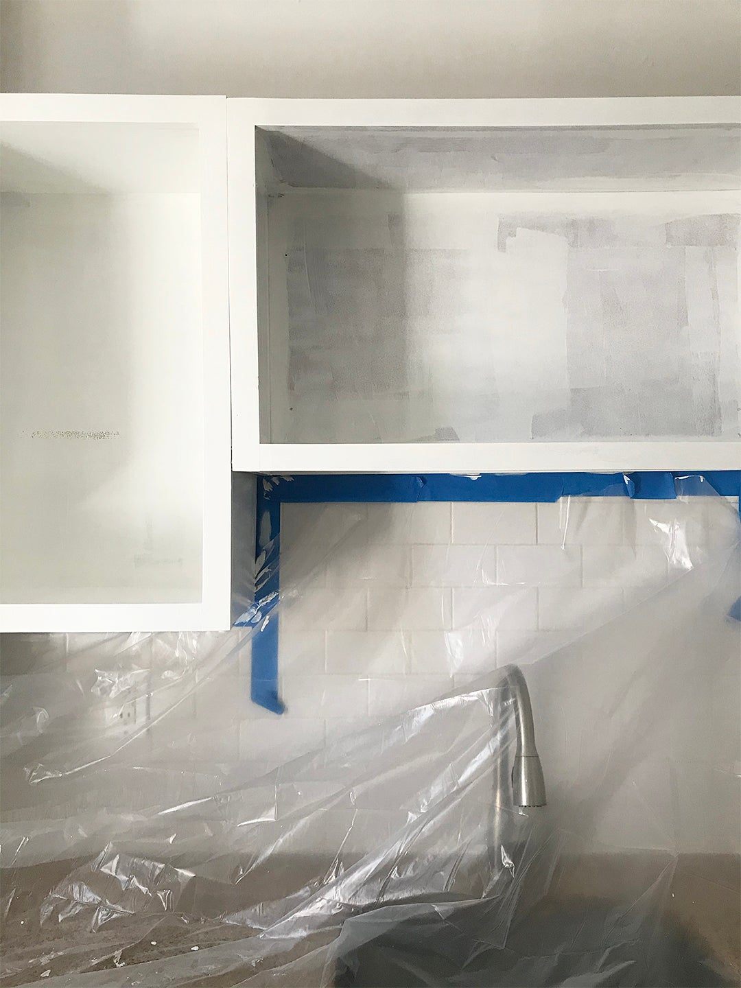 Cabinet frame painted white