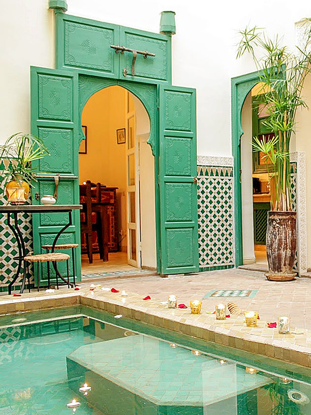 moroccan riad with green doors