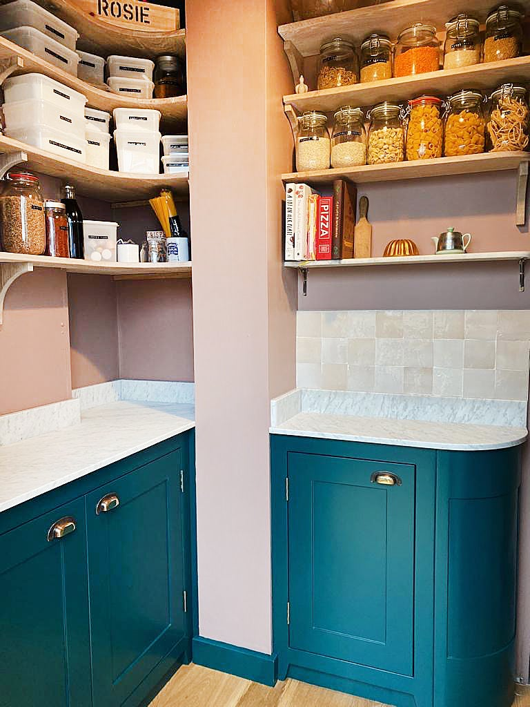 pink pantry with organized shelving