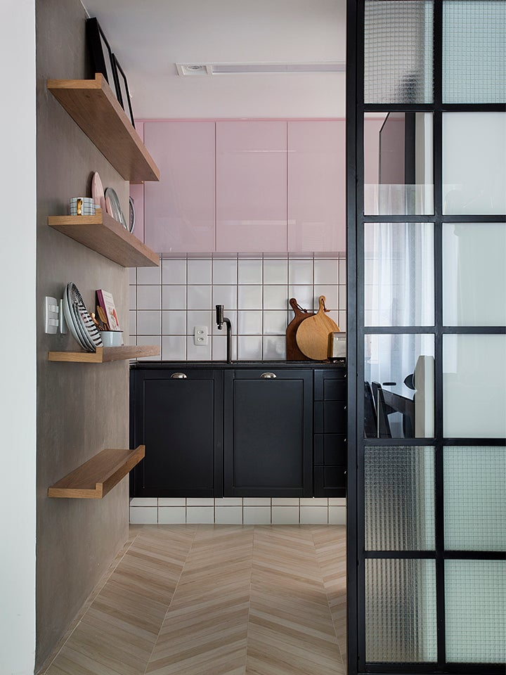 pink and black kitchen cabinets