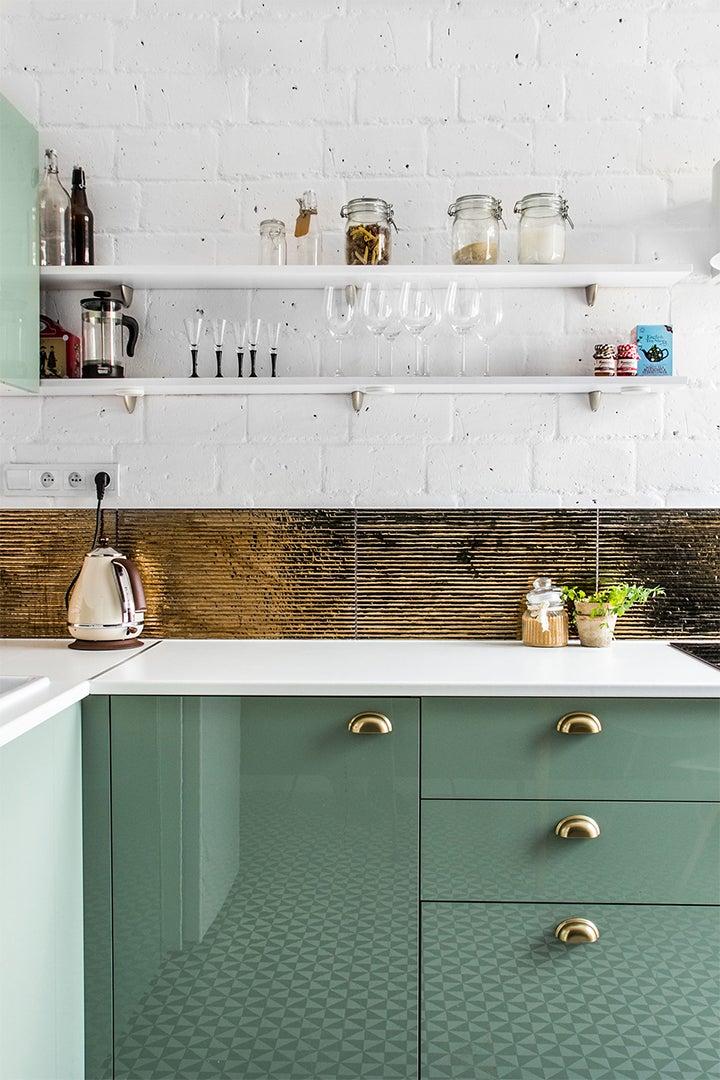 mint green kitchen brass backsplash