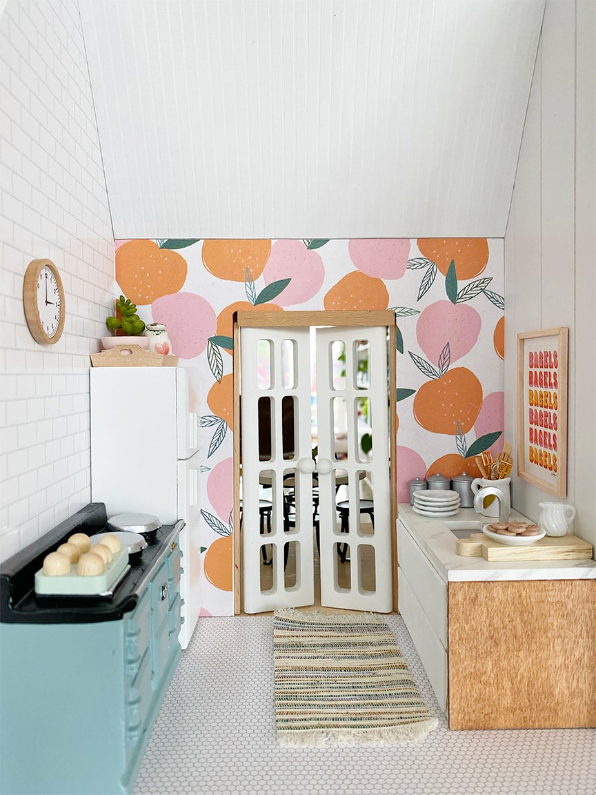 blue and floral pink kitchen