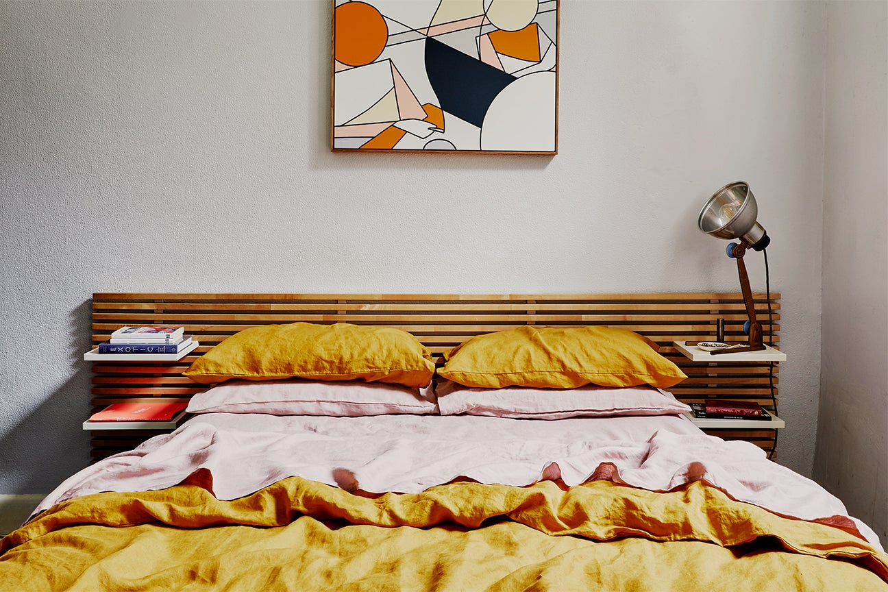 Bed with yellow duvet