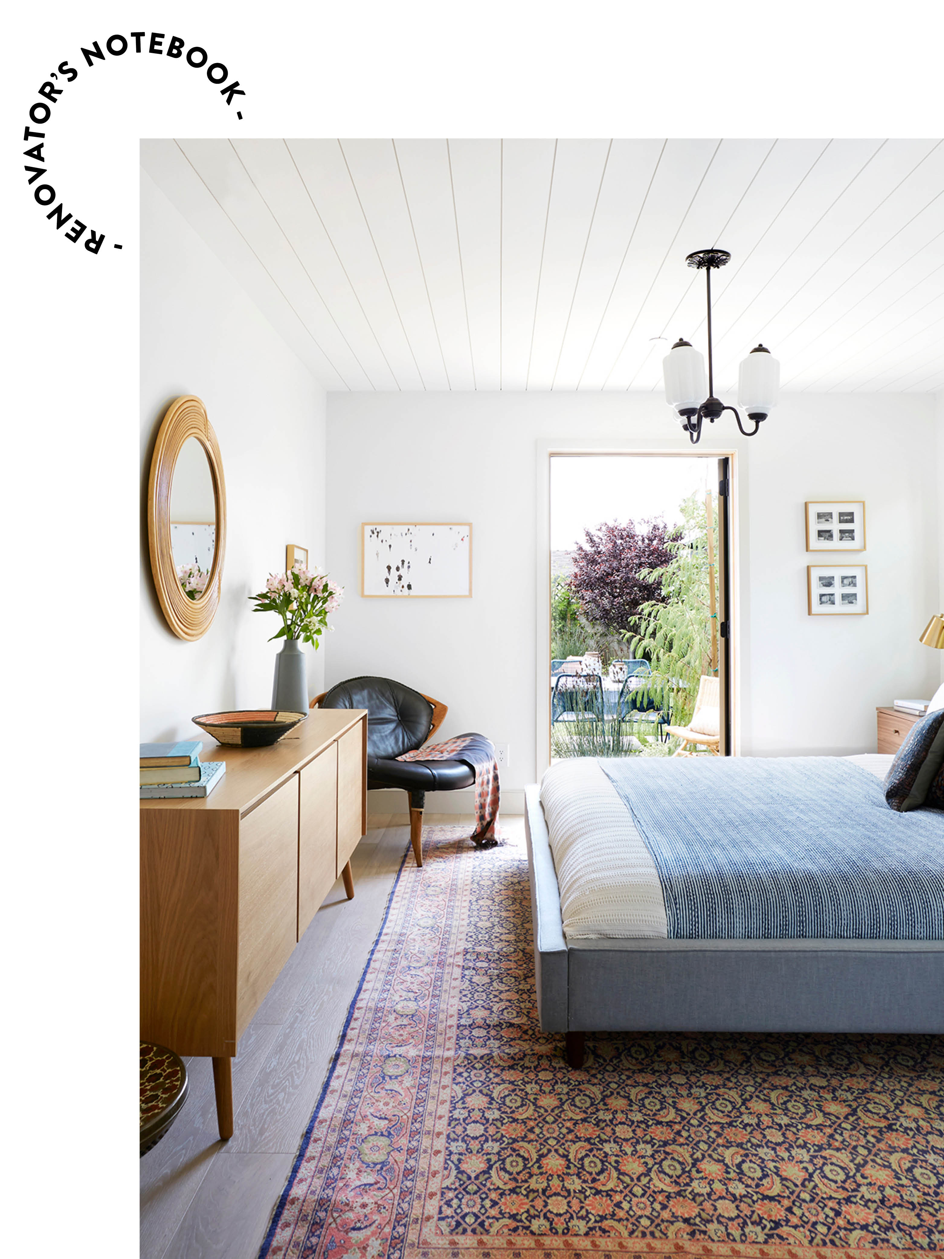 Bedroom with white walls and blue bed